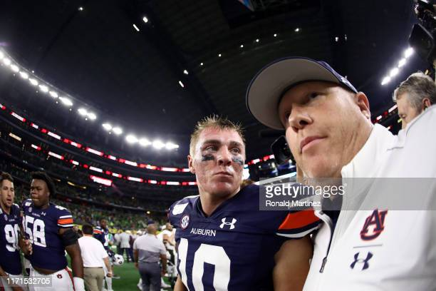 Bo Nix of the Auburn Tigers during the Advocare Classic at ATT Stadium on August 31 2019 in Arlington Texas