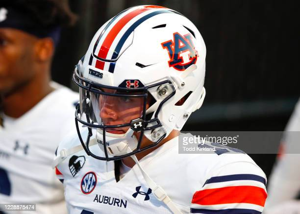 Bo Nix of the Auburn Tigers leaves the field prior to a game against the Auburn Tigers at Sanford Stadium on October 3, 2020 in Athens, Georgia.