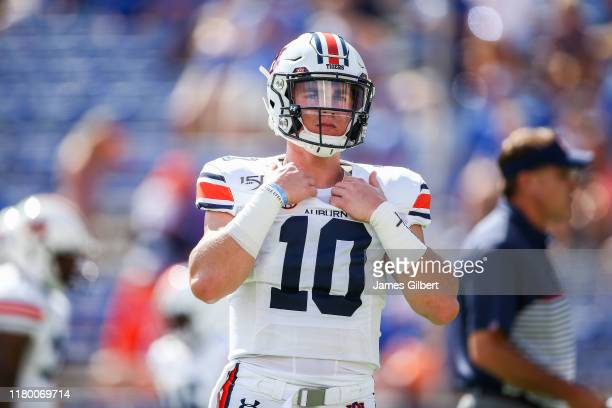 Bo Nix of the Auburn Tigers looks on before the start of a game against the Florida Gators at Ben Hill Griffin Stadium on October 05 2019 in...