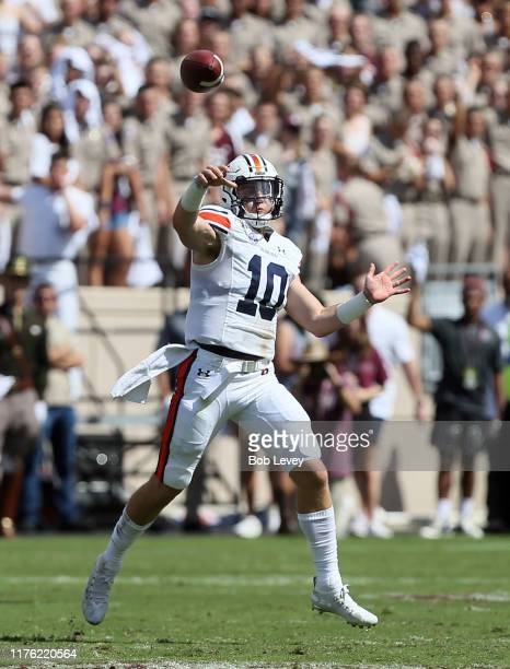 Bo Nix of the Auburn Tigers throws a pass during the first half against the Texas AM Aggies at Kyle Field on September 21 2019 in College Station...