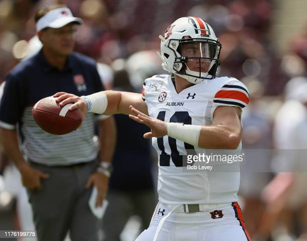 Bo Nix of the Auburn Tigers throws a pass during warmups before playing against the Texas AM Aggies at Kyle Field on September 21 2019 in College...