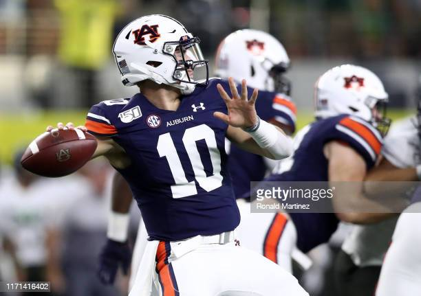 Bo Nix of the Auburn Tigers throws the ball against the Oregon Ducks during the Advocare Classic at ATT Stadium on August 31 2019 in Arlington Texas
