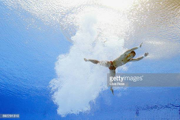 Bo Qiu of China competes in the Men's 10m Platform Semifinal on Day 15 of the Rio 2016 Olympic Games at the Maria Lenk Aquatics Centre on August 20,...