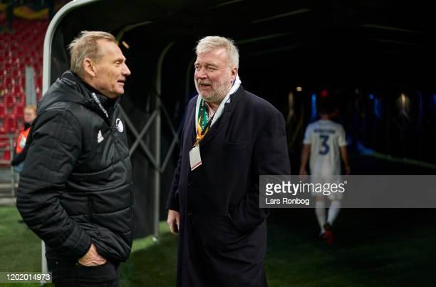 Bo Rygaard, president of FC Copenhagen speaking to Lars Seier Christensen, co-owner of Parken after the UEFA Europa League Round of 32 1st Leg match...