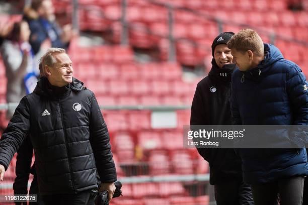 Bo Rygaard president of FC Copenhagen Stale Solbakken head coach of FC Copenhagen and Johan Lange technical director of FC Copenhagen talking after...