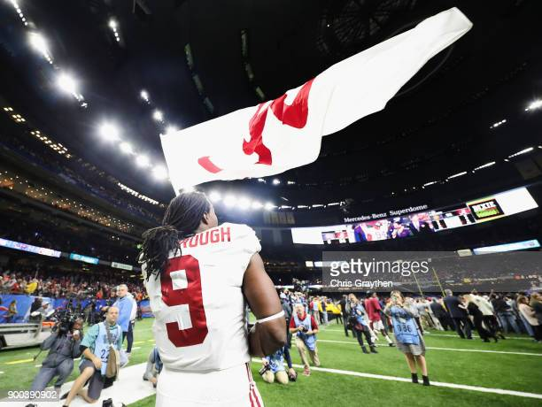 Bo Scarbrough of the Alabama Crimson Tide celebrates after the AllState Sugar Bowl against the Clemson Tigers at the MercedesBenz Superdome on...