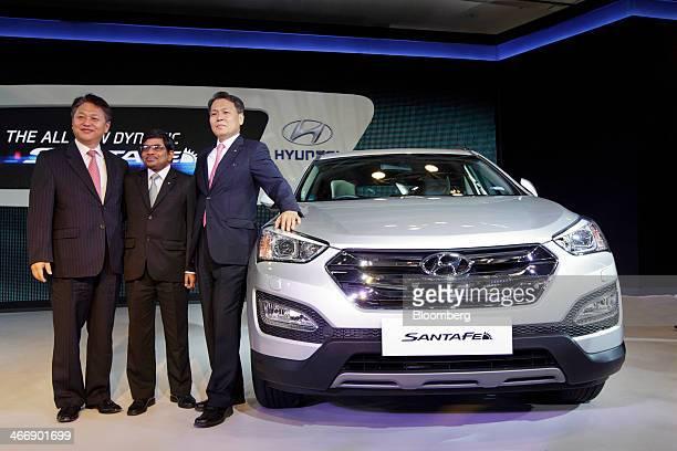 Bo Shin Seo managing director and chief executive officer of Hyundai Motor India Ltd right to left Rakesh Srivastava senior vice president of sales...