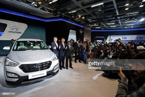 Bo Shin Seo managing director and chief executive officer of Hyundai Motor India Ltd left to right CH Han senior executive director and Rakesh...