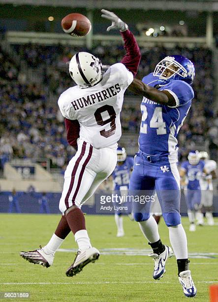 Bo Smith of the Kentucky Wildcats knocks away the pass intended for Keon Humphries of the Mississippi State Bulldogs on October 29, 2005 at...