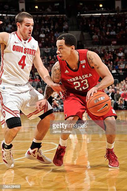 Bo Spencer of the Nebraska Cornhuskers controls the ball as Aaron Craft of the Ohio State Buckeyes defends on January 3 2012 at Value City Arena in...