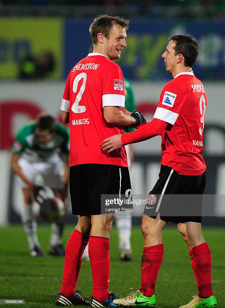 Bo Svensson (L) and Zdenek Pospech of Mainz celebrate the victory after the Bundesliga match between SpVgg Greuther Fuerth and 1. FSV Mainz 05 at Trolli-Arena on January 26, 2013 in Fuerth, Germany.