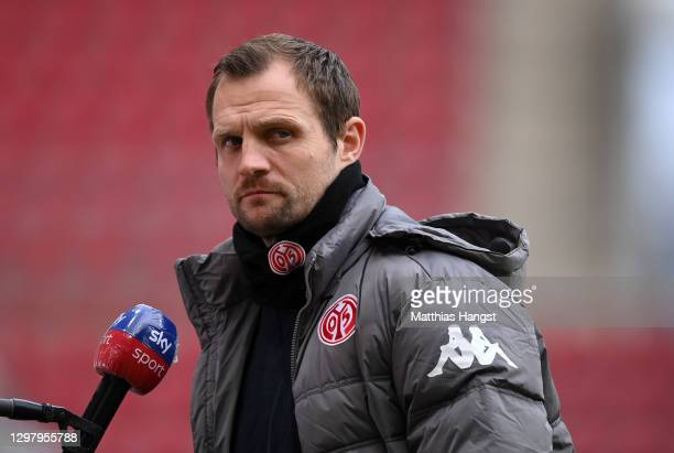 Bo Svensson, Head Coach of FSV Mainz talks to the press prior to the Bundesliga match between 1. FSV Mainz 05 and RB Leipzig at Opel Arena on January...