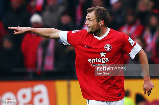 Bo Svensson of Mainz gestures during the Bundesliga match between 1. FSV Mainz 05 and SC Freiburg at Coface Arena on January 19, 2013 in Mainz,...