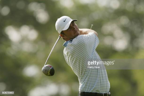 Bo Van Pelt hits a shot during the final round of the rain delayed Shell Houston Open at Redstone Golf Club, on April 26 in Humble, Texas.