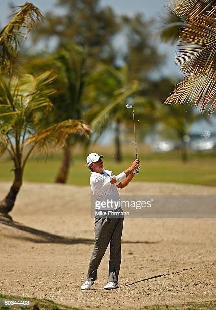 Bo Van Pelt hits out of the waste area on the 12th hole during the third round of the Puerto Rico Open presented by Banco Popular held on March 22...