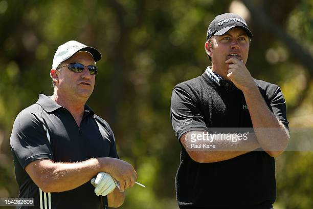 Bo Van Pelt of the USA looks on with an amature playing partner during the Perth International ProAm at Lake Karrinyup Country Club on October 17...