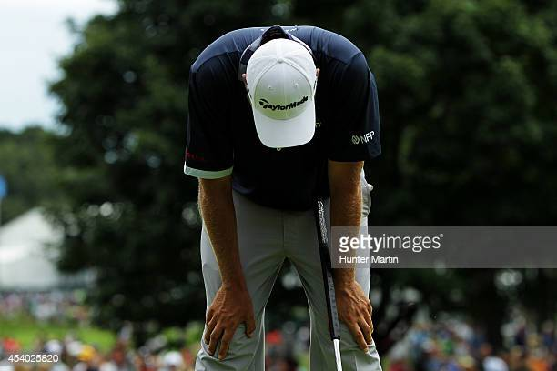 Bo Van Pelt reacts after finishing on the 18th green during the third round of The Barclays at The Ridgewood Country Club on August 23 2014 in...