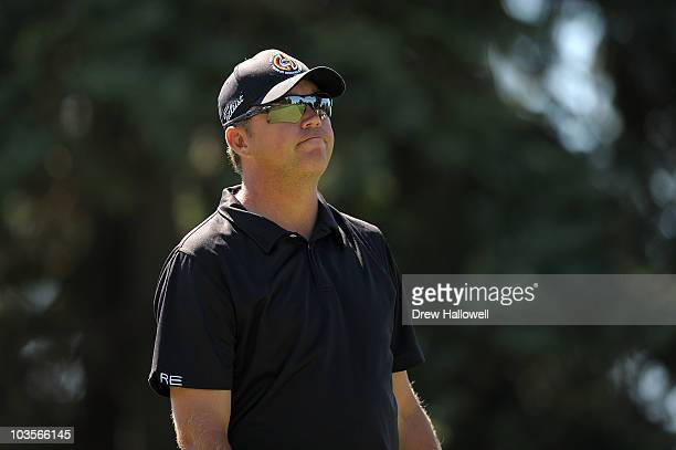 Bo Van Pelt watches his tee shot on the 12th hole during the second round of the AT&T National at Aronimink Golf Club on July 2, 2010 in Newtown...