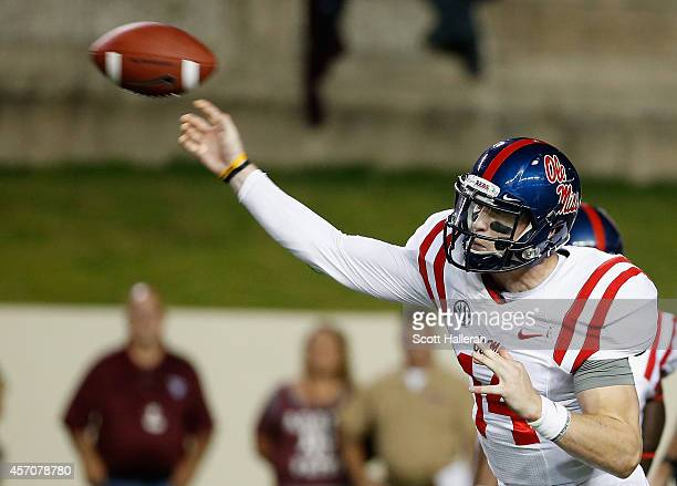 Bo Wallace of the Mississippi Rebels throws a pass in the first half of their game against the Texas AM Aggies at Kyle Field on October 11 2014 in...
