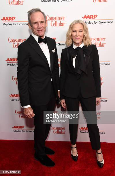 Bo Welch and Catherine O'Hara attend AARP The Magazine's 18th Annual Movies for Grownups Awards at the Beverly Wilshire Four Seasons Hotel on...