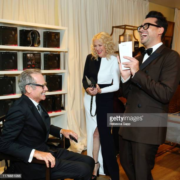 Bo Welch Catherine O'Hara and Daniel Levy attend Backstage Creations Giving Suite At The Emmy Awards Day 2 at Microsoft Theater on September 22 2019...