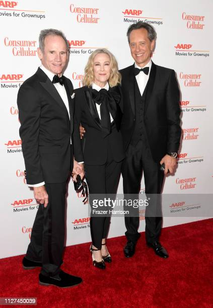 Bo Welch Catherine O'Hara and Richard E Grant attend the 18th Annual AARP The Magazine's Movies For Grownups Awards at the Beverly Wilshire Four...