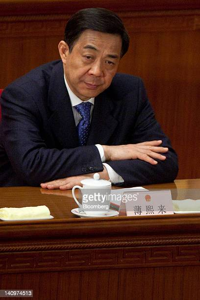 Bo Xilai Chinese Communist Party secretary of Chongqing attends a plenary session on the work report of the National People's Congress as China's NPC...