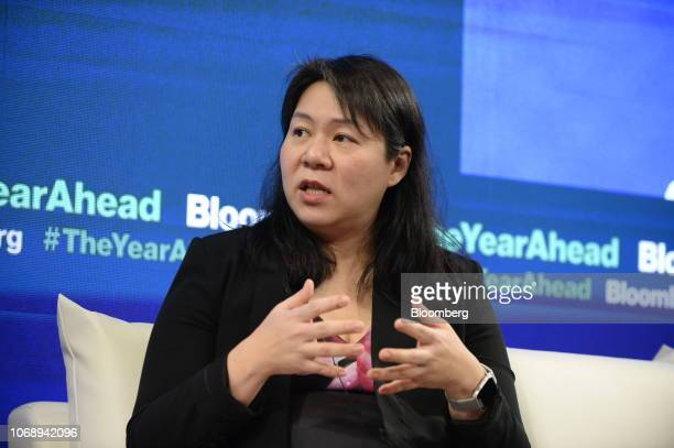 Bo Young Lee chief diversity and inclusion officer at Uber Technologies Inc speaks during the Bloomberg Year Ahead summit in Tokyo Japan on Thursday...