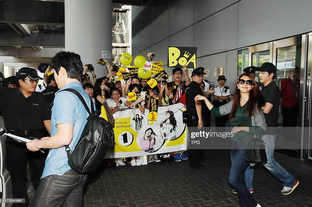 BoA was welcomed by fans at the airport on Sunday June 30, 2013 in Hong Kong, China. She will attend Hong Kong DOME Festival on July 01.