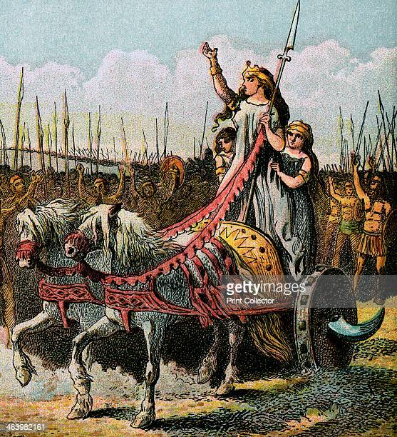 'Boadicea And Her Army' Boudicca was Queen of the Brythonic Celtic Iceni people of Norfolk in Eastern Britain Colour plate from Pictures of English...