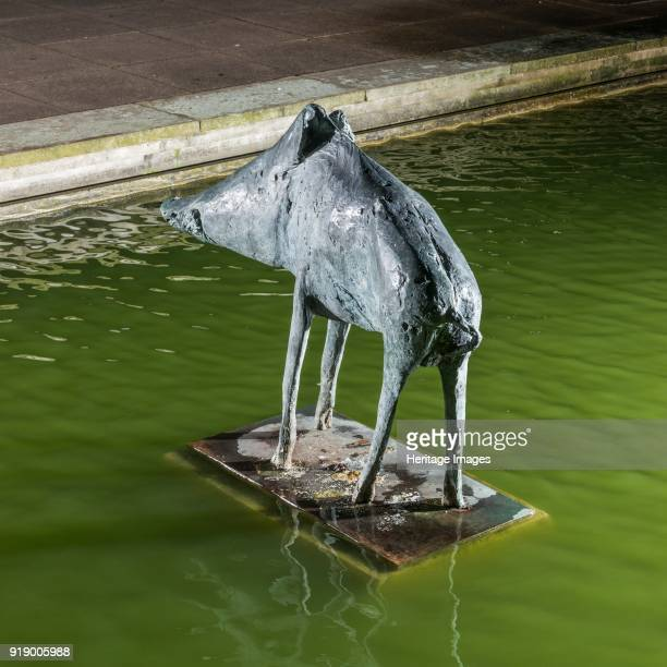 'Boar' the Water Gardens Harlow Essex 2015 View of the sculpture by Elisabeth Frink unveiled in 1970 from the northeast