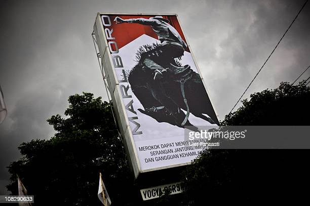 Board advertising a cigarette brand is seen on the roadside on January 24 2011 in Yogyakarta Indonesia It is estimated that over 25 percent of...