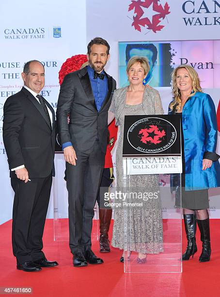 Board Chair Dan McGrath, actor Ryan Reynolds, Tammy Reynolds and CWOF CEO Melanie Hurley attend the 2014 Canada's Walk Of Fame Awards at the Sony...