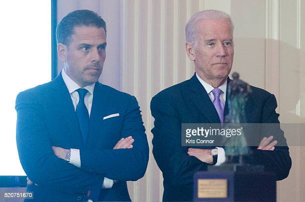 Board Chair Hunter Biden introduces his father Vice President Joe Biden during the World Food Program USA's 2016 McGovernDole Leadership Award...