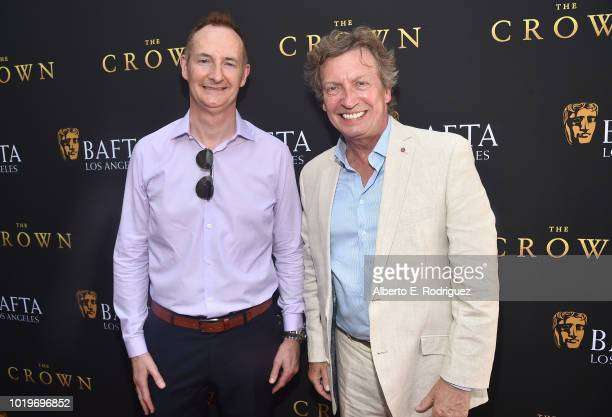 Board Chairman Kieran Breen and TV personality Nigel Lithgoe attend the BAFTALA Summer Garden Party at The British Residence on August 19 2018 in Los...