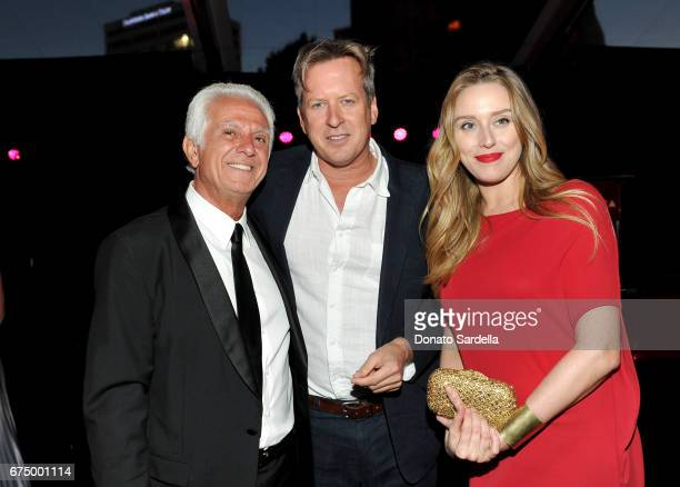 MOCA Board CoChair Maurice Marciano Director Doug Aitken and Carmen Ellis at the MOCA Gala 2017 honoring Jeff Koons at The Geffen Contemporary at...