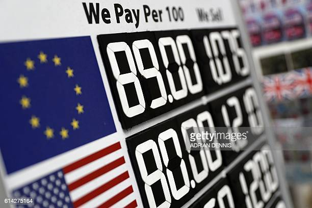 A board diplaying the price of Euro and US dollars against British pound Sterling is pictured outside a currency exchange store in central London on...