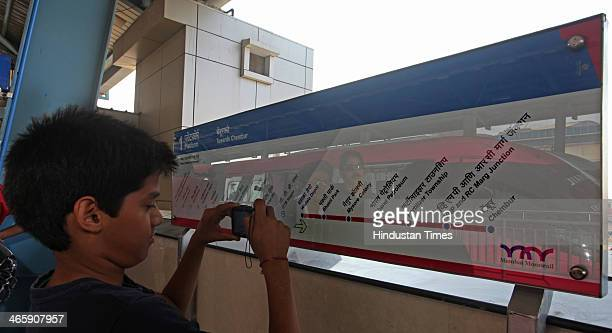 Board display showing stations to be covered by Monorail during its trial run on January 30 2013 in Mumbai India The country's first Monorail service...
