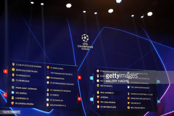 A board display the result of the draw for UEFA Champions League football tournament at The Grimaldi Forum in Monaco on August 30 2018
