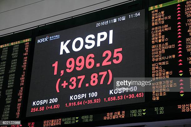 Board displayed currency rate at KRX in Seoul South Korea on 9 November 2016 Asian share markets have surged back after Wednesday's sharp selloff in...