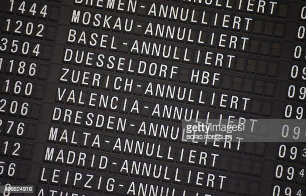 A board displaying cancelled Lufthansa flights can be seen on November 11 2015 at the airport in Frankfurt am Main western Germany A German court...
