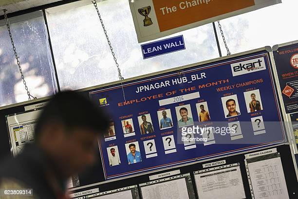 A board displaying employees of the month hangs inside Flipkart Online Services Pvt office in the Jayaprakash Narayan Nagar area of Bengaluru India...