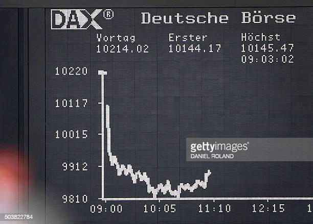 A board displaying the chart of Germany's share index DAX is pictured at the stock exchange in Frankfurt am Main western Germany on January 7 2016...