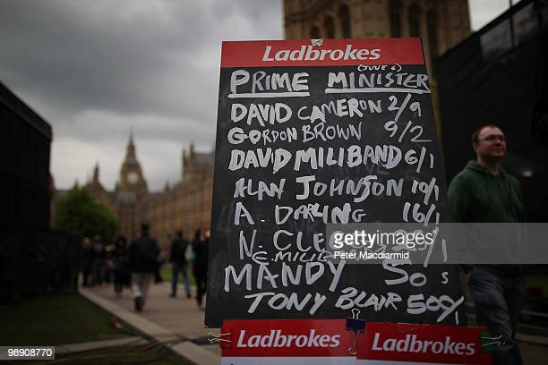A board displays the betting odds for the next Prime Minister on May 7 2010 in London England With all the election results now counted and no...