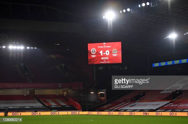 Board displays the final score after the English Premier League football match between Sheffield United and Newcastle United at Bramall Lane in...