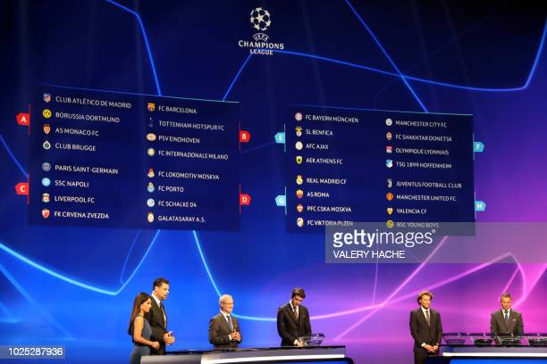 A board displays the result of the draw for UEFA Champions League football tournament at The Grimaldi Forum in Monaco on August 30 2018