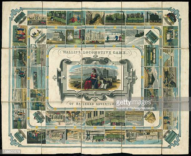 Board game Wallis's Railway Game or Tour through England Wales consisting of a linen backed map of England Wales showing principal towns and early...