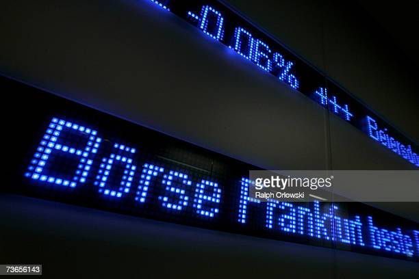 A board is pictured on the trading floor of Frankfurt stock exchange on March 21 2007 in Frankfurt Germany The German Stock Exchange has changed its...