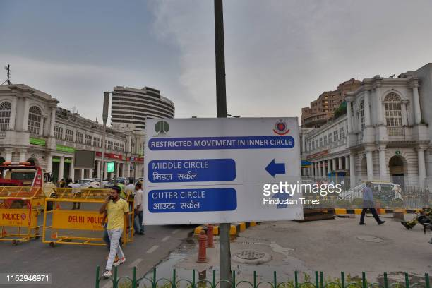 Board is seen at Connaught Place, on June 30, 2019 in New Delhi, India. The New Delhi Municipal Council on Sunday starts its trial run to regulate...