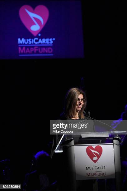 Board Member Alexandra Patsavas speaks on stage at the 13th Annual MusiCares MAP Fund Benefit Concert at the PlayStation Theater on June 26 2017 in...